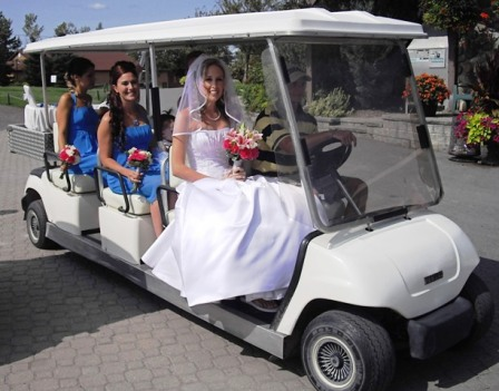 Golf cart at the Canadian GCC to carry bride & party to gazebo