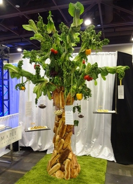 Tree made of bread and lettuce from Tulips & Maple Catering