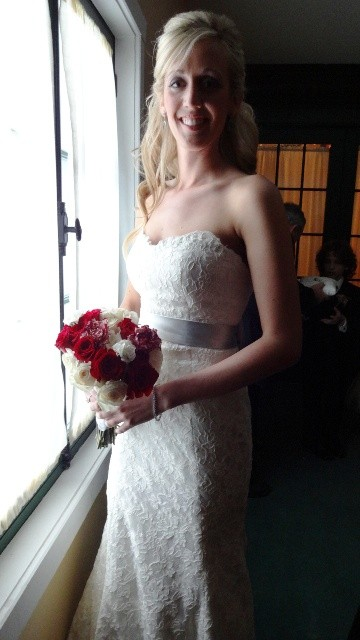 Ashley in her McCaffrey wedding dress. Photo by Alan Viau