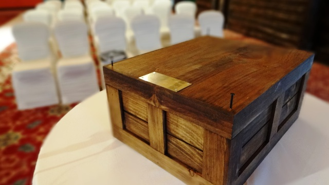 Wine Box used in the ceremony. Photo by Alan Viau