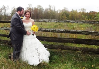 Wedding couple at Stonefield's Heritage Farm