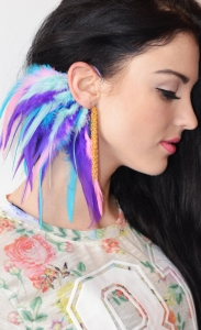 Feathered ear cuff