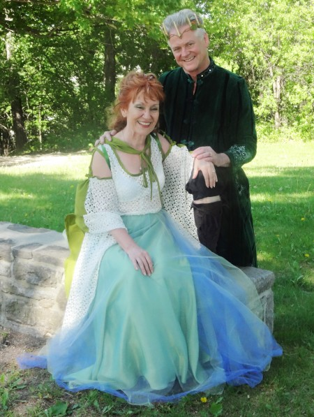 Costumed wedding couple