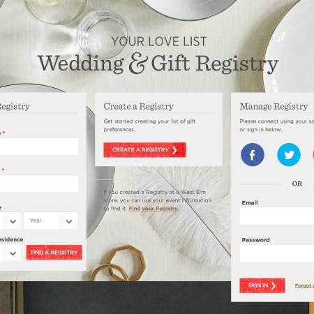 West Elm Gift Registry