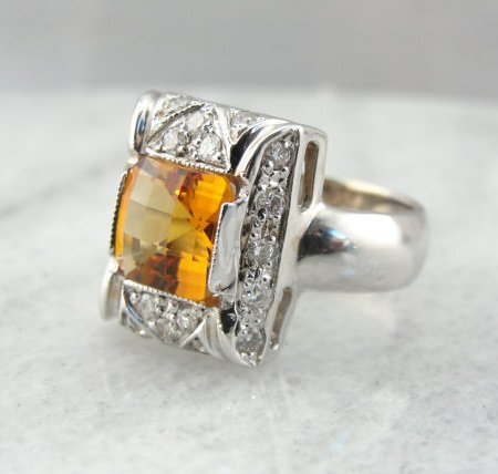 Bold, Geometric White Gold Ring with Intense Citrine Center