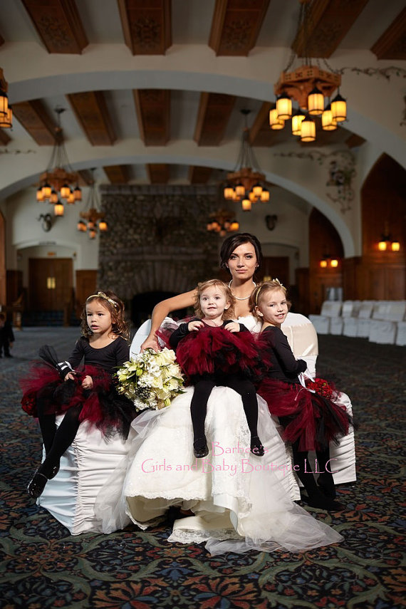 Black and Burgundy Flower Girls Tutu Skirt