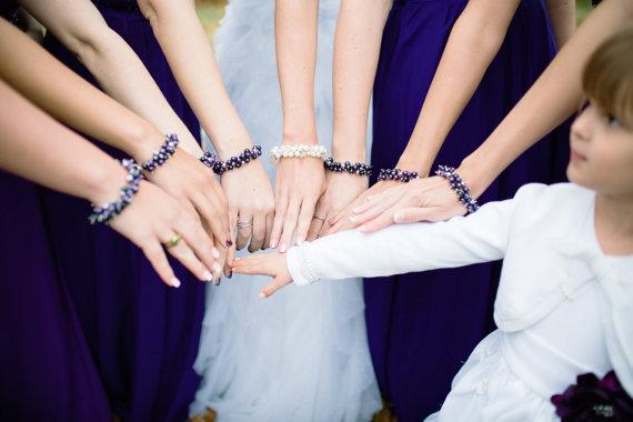 Dark Purple Pearl Cluster Bracelet