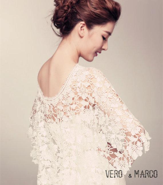 Romance ivory Alencon lace bridal capelet