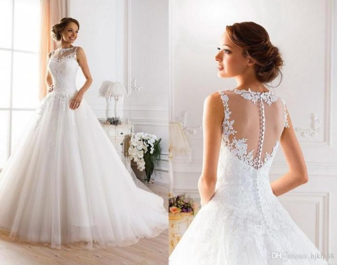 Example of lace ball gown wedding dress