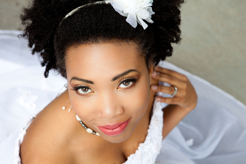Beautiful African American woman looking at Camera