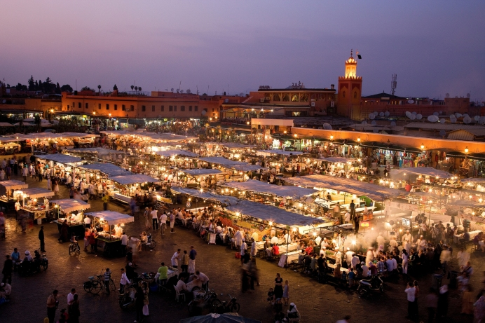 Overview of Djemaa el- Fna market.  ©Michael Heffernan/Lonely Planet